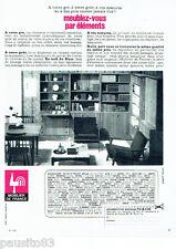 PUBLICITE ADVERTISING 046  1966  les meubles éléments  Mobilier de France teck
