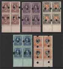 Thailand 1920-6 King Vajiravudh 3s, 5s, 10s, 15s & 50s Waterlow proof blocks