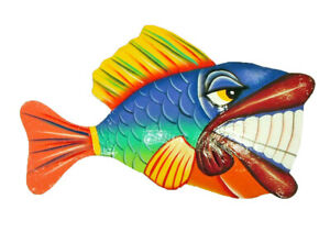 Handcrafted Grinning Tropical Fish Haitian Metal Art Blue