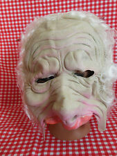 VTG 90s Halloween Old Man Latex Mask Zombie Walker Half Face with Hair NWT Gift