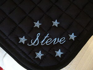 Personalised Embroidered Saddle Cloth with Name & Stars on both sides