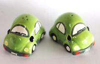 Light Green VW Beetle Salt & Pepper Shaker Ceramic Collectable Volkswagen