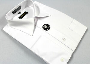 French Cuff Dress Shirt Plain White Amanti Wrinkle-Free Cotton Blend Modern Fit