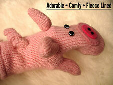 deLux PIG MITTENS knit ADULT Fleece LND puppet piglet curly tail animal costume