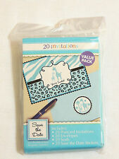 BABY SHOWER SAFARI -IT'S A BOY 20- INVITATIONS W/ ENVELOPES  -PARTY SUPPLIES
