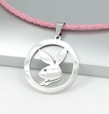 Playboy Bunny Rabbit Stainless Steel Pendant 3mm Pink Leather Choker Necklace