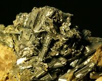 Stibnite glossy, jack-straw crystals w/ Calcite on matrix White Cap Mine, NV