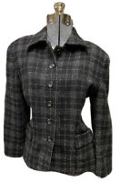 Vintage Ann Taylor Wool Suit Blazer Jacket Black & White Plaid Size 8-10
