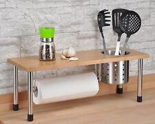 Küchenregal mit Küchenrollenhalter, Bambusablage & praktischem Edelstahlbecher