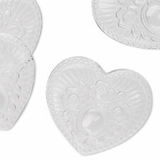 4862 Beads Lucite Acrylic Heart Clear Floral PK6 32mm *UK EBAY SHOP*