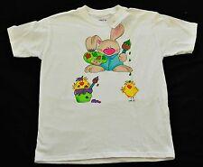 girls Hand painted Kudzoo Kids EASTER t shirts size large 14-16 artist bunny