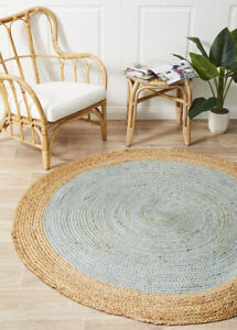 ALISON JUTE RUG ROUND BLUE Beige Circle Natural Carpet mat Large FREE POST*