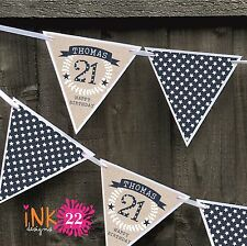 Personalised 30th, 40th, 50th Birthday Party Decoration Banner Bunting Sign Male
