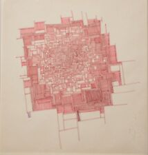 Maurice Blanc Original Modernist Linear Abstract Drawing-Red Pen & Ink c.1970s