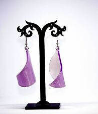 Purple Plastic Long Drop Dangle Earrings 1980'