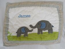 "Pottery Barn Kids Brooks Elephant Toddler Quilted Pillow Sham Nwot ""James"" 12X16"