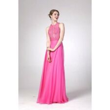 Women's Formal SHEER Embroidery Beaded Lace bodice Long Evening Gown prom dress
