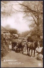 Farmer with his Two Working Horses. Vintage Real Photo Postcard. Free UK Postage