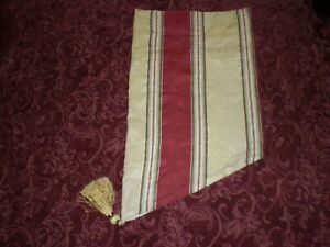 Waverly Capulet Stripe Antique Gold Lined Ascot Valance Gold Tassel Jacquard Cot