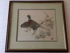 Rare Vintage Chinese Hand Stitch Embroidery on Silk Pheasants with Blossom