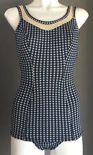 Vintage Bombshell 1950's One Piece Swimsuit Blue & White Gingham Size 34 (AU6)