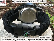 22 Black Green Adjustable Emergency Survival Paracord Watch Band Fits Casio
