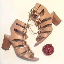 Loeffler Randall Lace-Up Gladiator sandal, Nude, Size 8