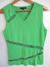 PIERRI womens green knit top L LARGE sleeveless sweater chain cutout V-neck