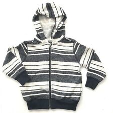 Old Navy Hoodie Boys 3T Striped Chambray Terry Zipper Sweatshirt Jacket Beach