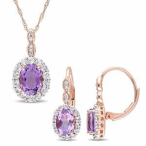 Amour 14k Rose Gold Created Amethyst White Topaz Diamond Necklace & Earrings Set