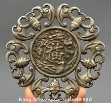 Collect Chinese Old  Miao Silver Lucky Dragon Phoenix blessing Amulet pendant