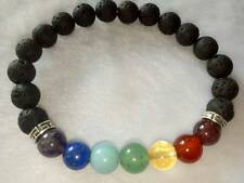Seven Chkra with Lava Beads Bracelet 8 MM *Luck* Love* Peace