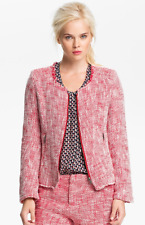 NWT Joie Collis Tweed Jacket Red and White with Zipper Detail in Size XS