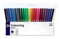 24 Pack Felt Tip Pens Drawing Markers Painting Colouring Art School UK SELLER