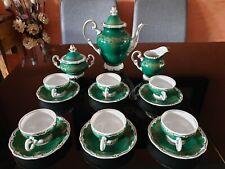 kaffeeservice, mokkaservice,echt  weimar porzellan, grün, katharina