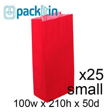 RED paper flat bottom small GIFT BAGS x 25 - perfect for party lolly bags NEW