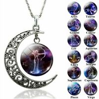 12 Constellation Necklace Zodiac Signs Cabochon Glass Crescent Moon Pendant Gift
