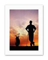 MOCK GOLF GOLFER SILHOUETTE SUNSET Sport Canvas art Prints
