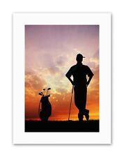 Mock Golf Golfista Silhouette SUNSET SPORT tela art prints