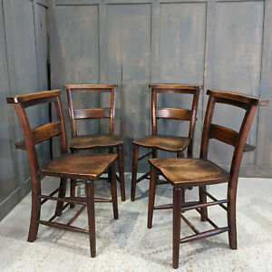 Set of 4 Beautiful Antique Mellow Dark Classic Church Chapel Chairs Leicester