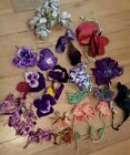 Lot Vintage Millinery Flowers Old Hat Velvet Violet Fabric Pansy Tiny