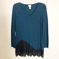 Chicos Women Top Sz 0 Long Sleeve Tunic V Neck Teal Black Lace Trim Asymmetrical