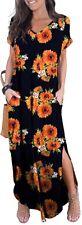 GRECERELLE Women's Casual Loose Long Dress Short Sleeve Split Maxi Pockets, XL