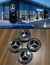 4 Pcs Mercedes Benz New Black Wheel Center Hub Caps Emblem 75Mm