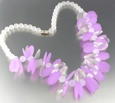 VINTAGE 60'S FROSTED PURPLE PLASTIC LUCITE BEAD BEAD NECKLACE