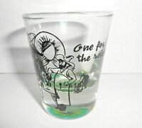 """Vintage Shot Glass """"One For The Road"""" Old West Thick Green Tint Base"""