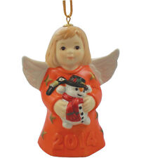 Goebel Angel Bell 2014 Nib Tangerine Dress Holding Snowman 109303 New In Box