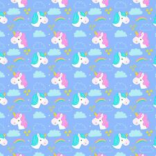 Printed Bow Fabric A4 Canvas Unicorn Rainbow Clouds Stars U5 glitter hair crafts