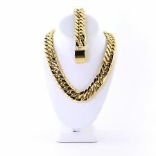 Mens Large Thick 14K Gold Plated Miami Cuban Chain And Bracelet Set 21mm JayZ