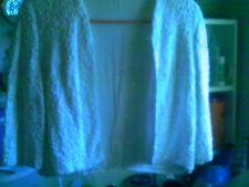 "VINTAGE WHITE RIBBON JACKET SHRUG 3/4"" SLEEVES RETRO MODERN HOLLYWOOD"